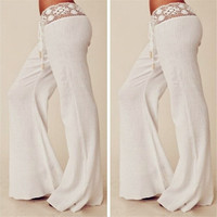 Women Fashion White Lace Slim Casual Pants Trousers = 1933328900