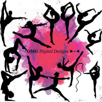 12 Gymnastics Digital Clipart, Clipart Design Elements, Instant Download, Black Silhouette Clip art