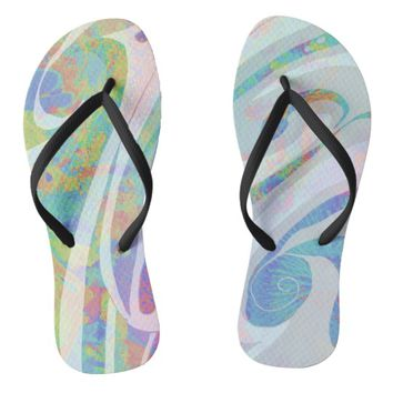 Abstract Colors Waves Design Flip Flops