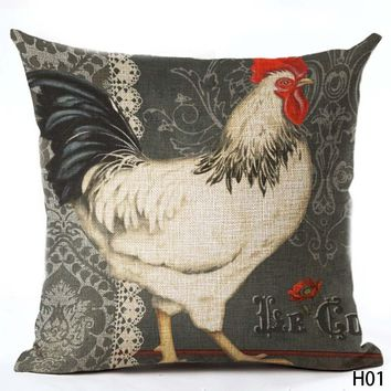 Vintage Rooster Decorative Linen Pillow Cover; 9 Rooster Styles to Choose From