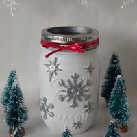 Christmas Mason jar,  Mason jar decor, Xmas vase, Christmas decorations , holidays decor , winter weddings, Christmas weddings, home decor.