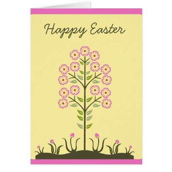 Pink Yellow Tree Flowers Easter Greeting Card