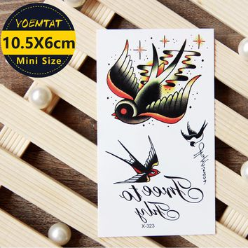 1 piece Waterproof Temporary Tattoo Sticker Old school style swallows tattoo Water Transfer fake tattoo flash tattoo