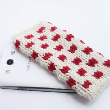 Red and White Phone Cozy, Knitted Phone Case, Samsung galaxy S3, handmade phone case, gift wrapping