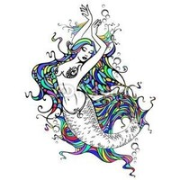 In studio Wall Decals Mermaid - 36 inches x 27 inches - Peel and Stick Removable Graphic