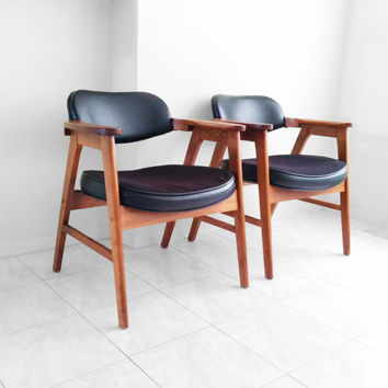 2 mid century modern solid oak ECK ADAMS arm chairs