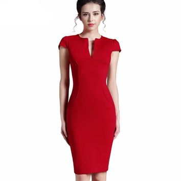 Stretch Bodycon Plunging Neckline Women Office Wear Dress