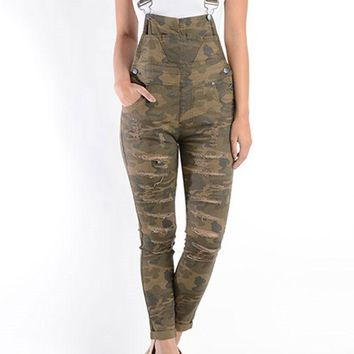Women's Ripped Skinny Overalls RJHO379 - H3B