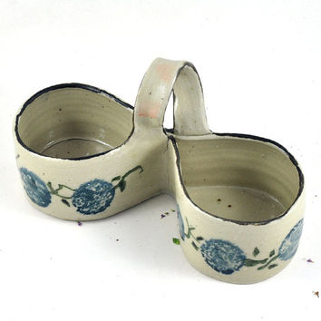 Handpainted Condiment Caddy with Spring Flowers Handmade Pottery Jam and Cream Server Ceramic Tableware