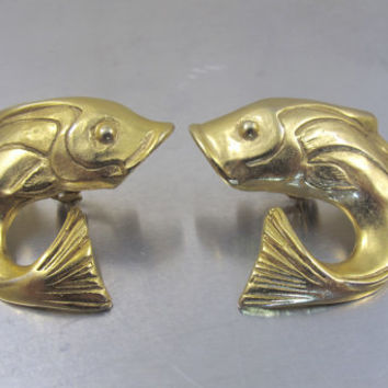 Gold Koi Fish Earrings, Large Fish Clip On Earrings, Pisces March Zodiac Fish Jewelry, Vintage Figural Fish Marine Life Animal Jewelry