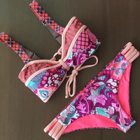 Women Floral Printed Pink Two-Piece Bikini Swim Suit Beach Bathing Suits Swimwear _ 12902
