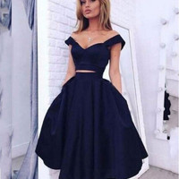 2017 Elegant Cocktail Dress 2017 Two Pieces Sweet Party Gowns Short Prom Dresses Party Girls Sale Vestidos De Festa C2