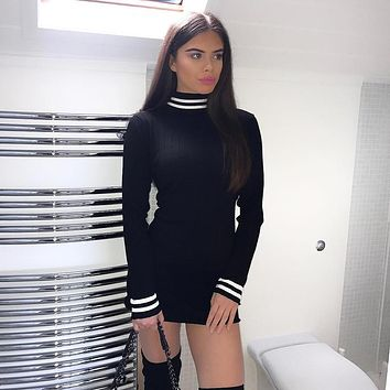 Women Fashion Webbing Stitching Multicolor Turtleneck Long Sleeve Tight T-shirt Mini Dress