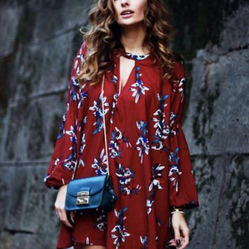 Red Oxblood Long Sleeve Oversized Boho Dress