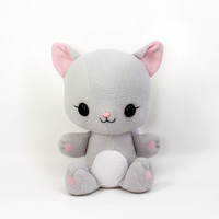 "Cat Grey Kitten handmade large 15"" plushie toy ~ kawaii soft cuddly stuffed animal"