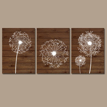 DANDELION Wall Art Flower Artwork Brown Wood Grain Custom Colors Modern Set of 3 Prints Decor Bedroom Bathroom Nursery Dorm Three