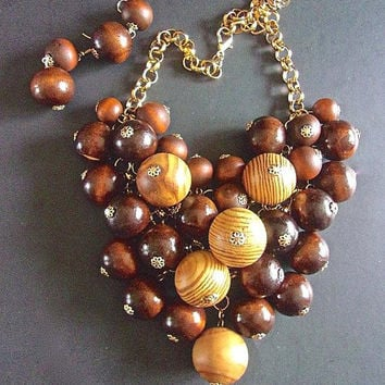 COURREGES Wood Festoon Bib Necklace Earring Set, Rolo Chain, Signed, Huge Bead Vintage