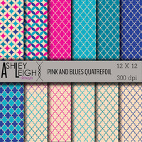 Pink and Blues Quatrefoil Digital Paper Pack - Personal / Commercial Use -12 Sheets - 300 dpi 12 x 12 jpg - Scrapbooking - INSTANT DOWNLOAD