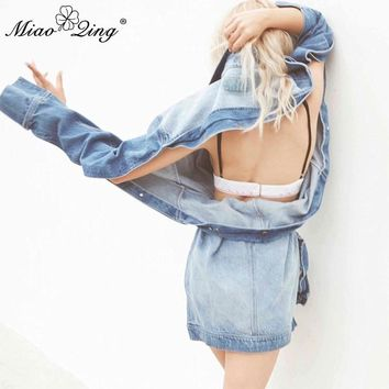 Trendy MIAOQING Autumn Winter Women Hole Denim Jackets befree Coat 2018 Sexy Asymmetric Sexy Backless Casual Harajuku Oversize Clothes AT_94_13