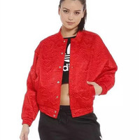 2016 Trending Fashion Floral Printed Red Women Loose Baseball Stand Collar  Sweater Cardigan Coat Jacket Outerwear _ 9970