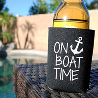 On Boat Time Koozie. Beer Koozie. Can Koozie. Bottle Koozie. Boat Koozie. Pool Koozie. On Boat Time. Boat Drink Holder. Beverage Koozie.