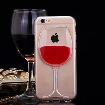 FGHGF Hot Red Wine Glass Liquid Quicksand Transparent Phone Case Hard Back Cover For iPhone 4 4S 5 5S 5C 6 6S 7 Plus Housing