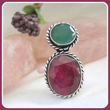 Wealth & Passion Kashmir Ruby & Green Onyx Sterling Silver Ring