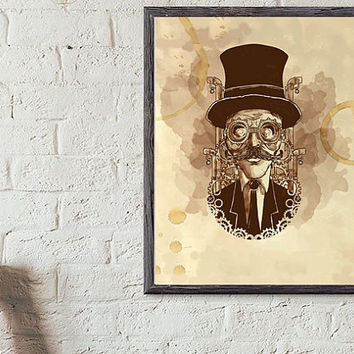 "Printable Wall art Poster /  steampunk / 8""x10"" Instant Download print for home Decor TheLabelBoutique digital artwork"