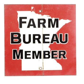 Vintage Metal Sign, Farm Bureau Sign, Metal Stop Sign, Minnesota, Two Sided Sign