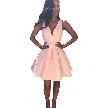 Summer V Neck Sleeveless Women Dresses Pink Chiffon Party Dress