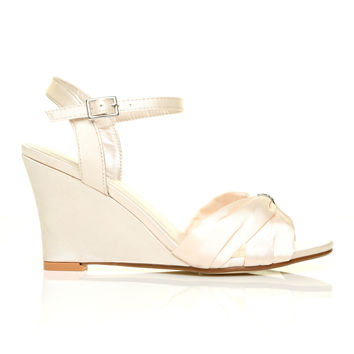 ANGEL Ivory Satin Wedge High Heel Strappy Bridal Shoes