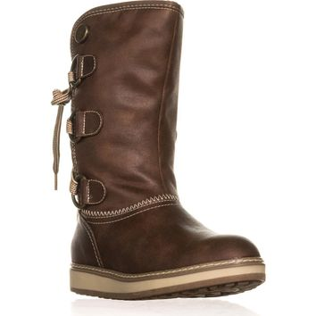 White Mountain Tivia Faux Shearling Lined Winter Boots, Cognac, 6.5 US