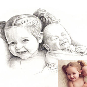 Two Person Custom Pencil Portrait Drawing from Photo - Siblings Drawing Graphite Sketch from Photo - Custom Dawing - Custom Sketch request