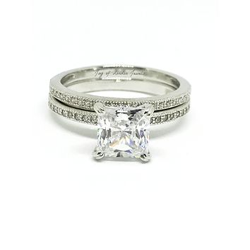 A Perfect 2CT Princess Cut Russian Lab Diamond Bridal Set