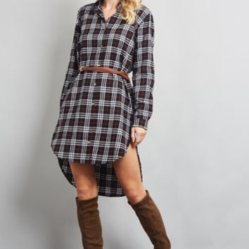 Plaid Belted Dress - Black