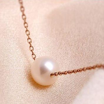 Hot pearl rose gold necklace female clavicle simple fashion