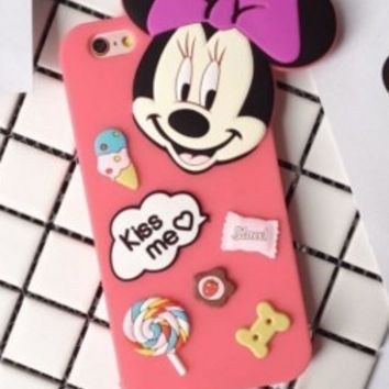 Disney Mickey Minnie with Dust Plug Silicone Case for Iphone 6 6s plus