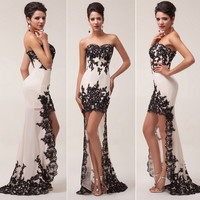 2014 Long Black Applique Evening Formal Prom Party Cocktail Dresses Wedding Gown