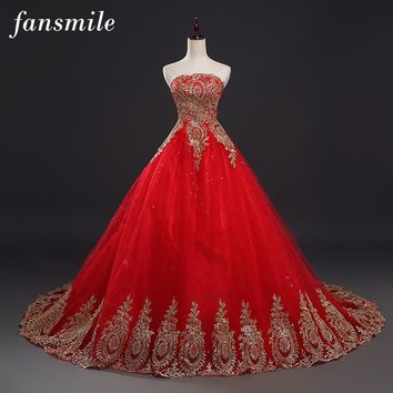 Fansmile 2017 Free Shipping Vintage Lace Red Wedding Dresses Long Train Plus Size Ball Gown Robe de Mariee Cheap FSM-118T