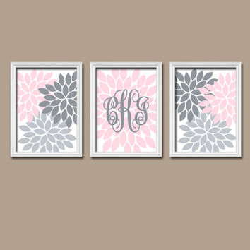 Pink Gray Nursery Wall Art Canvas Monogram Artwork Custom Cursive Flower Letter Initial Set of 3 Prints Decor Bedroom Crib Baby Three