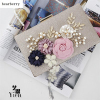 BEARBERRY 2017 new fashion handmade floral evening bags wedding clutch bags with pearl chain party bags for ladies MN569