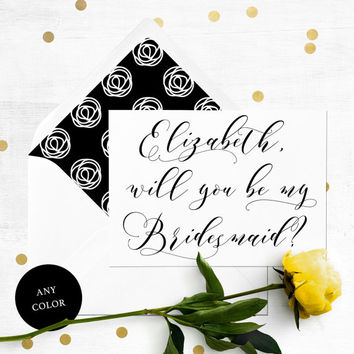 Will you be my Bridesmaid Card-Personalised Elegant Calligraphy Bridesmaid Proposal-Maid Of Honor, Flower Girl, Proposal-Bridesmaid Card