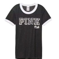 Gotopfashion Victoria's Secret PINK Fashion Casual Women Gold Logo Print Cute Short Sleeve T-Shirt Top Tee I