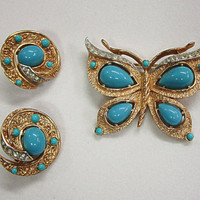 Trifari Turquoise Butterfly Pin and Earrings Demi Parure