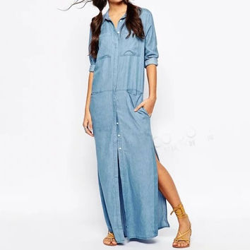 Blue Denim Sleeve Pocket Button Collared Maxi Dress With Slit