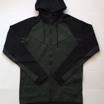 KUYOU Nike Sportswear Tech Fleece Full Zip Up Hoodie Outdoor Green Heather Black 885904-372