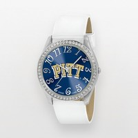 Game Time Glitz Pitt Panthers Silver Tone Crystal Watch - COL-GLI-PIT - Women (White)