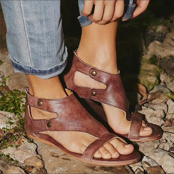 A  Chicloth Summer Ankle Strap Flat Shoes