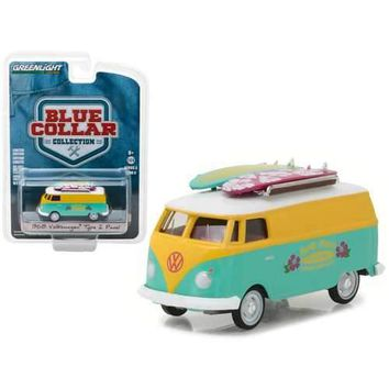 1968 Volkswagen Type 2 Panel Van North Shore Surfboard Repair Company Blue Collar Collection Series 3 1/64 Diecast Model Car by Greenlight