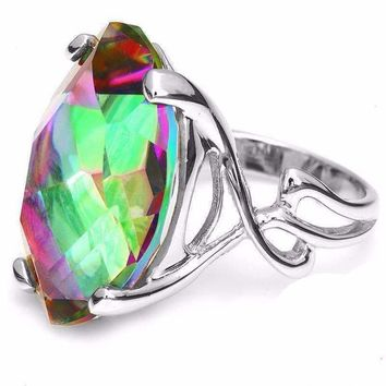 Imperial Splendor Genuine Rainbow Fire Mystic Topaz 30CT IOBI Precious Gems Ring